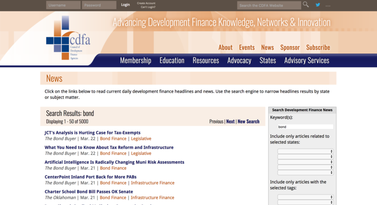 The Council of Development Finance Agencies